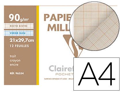 CLAIREFONTAINE 12 FEUILLES MILLIMÉTRÉES A4 90g