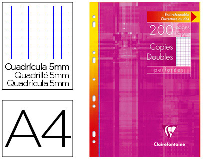 CLAIREFONTAINE A4 PERFORÉS PACK DE 200 COPIES DOUBLES