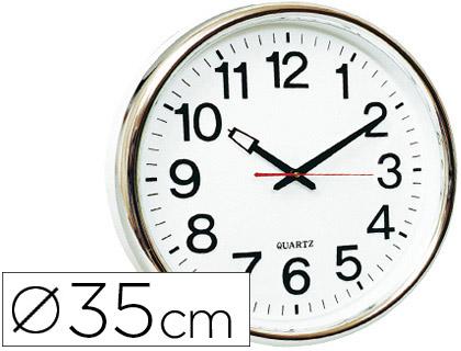 HORLOGE PVC CHROME Ø35cm