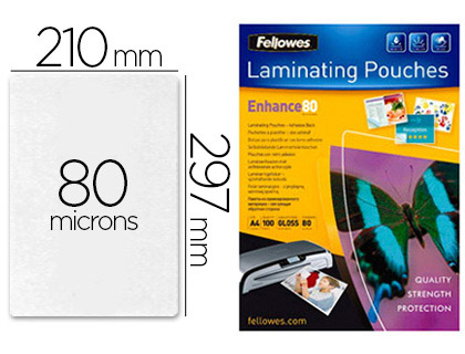 FELLOWES A4 DOS ADHESIF 80 Microns