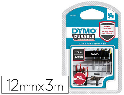 DYMO D1 BLANC/NOIR 12mmx3m