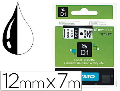 DYMO D1 NOIR/TRANSPARENT 12mmx7m