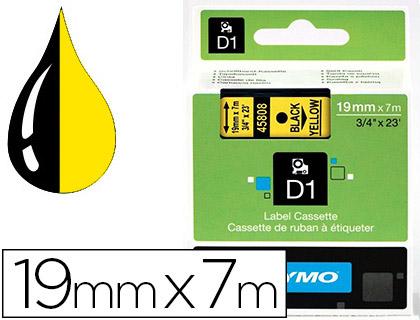 DYMO D1 NOIR/JAUNE 19mmx7m