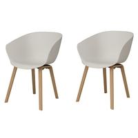 ARUM Blanc/hêtre - Lot de 2 chaises