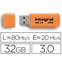 INTEGRAL CLÉ USB NEON 3.0 32Gb ORANGE