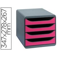BLOC BIG BOX 4 TIROIRS GRIS SOURIS/FRAMBOISE
