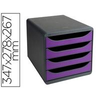 BLOC BIG BOX 4 TIROIRS GRIS SOURIS/VIOLET