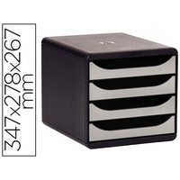 BLOC BIG BOX 4 TIROIRS METALLIC NOIR/ARGENT