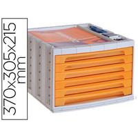 BLOC 6 TIROIRS ORANGE TRANSPARENT