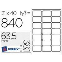 AVERY ÉTIQUETTES BLANCHES 63.5X38.1MM