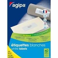 AGIPA ÉTIQUETTES BLANCHES 105X37MM PACK DE 500 FEUILLES