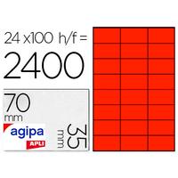AGIPA ÉTIQUETTES FLUO ROUGES 70X35MM