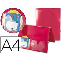 AVEC 2 POCHES CD DOS RIGIDE 5CM ROUGE
