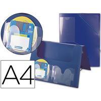 AVEC 2 POCHES CD DOS RIGIDE 5CM BLEU