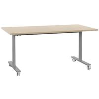 YES CHÊNE NATUREL TABLE MOBILE ET RABATTABLE PIEDS GRIS 140CM