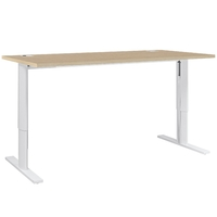 YES CHENE NATUREL PIEDS BLANCS AJUSTABLES BUREAU 120CM
