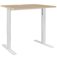YES CHENE NATUREL PIEDS BLANCS AJUSTABLES BUREAU 80CM