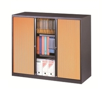 Corps anthracite - Rideaux merisier - ARMOIRE BASSE