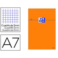 BLOC DE BUREAU ORANGE 7.4X10.5CM RÉGLURE 5x5