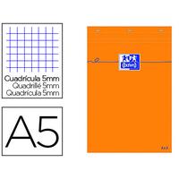 BLOC DE BUREAU ORANGE 14.8X21CM RÉGLURE 5x5
