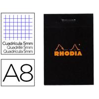 RHODIA NOIR 5,2x7,5cm RÉGLURE 5x5