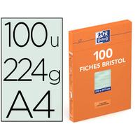 FICHES BRISTOL 210X297MM UNIES VERTES