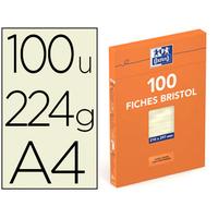 FICHES BRISTOL 210X297MM UNIES JAUNES