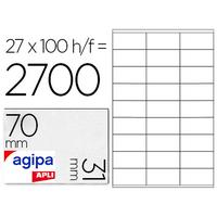 AGIPA ÉTIQUETTES  COINS DROITS 70x31mm