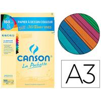 CANSON MI-TEINTES VIVES A3 Pochette de 8 feuilles 160g