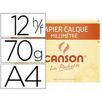 CANSON 12 FEUILLES MILLIMÉTRÉ CALQUE A4 BISTRE