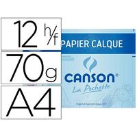 CANSON CALQUE 12 FEUILLES A4 70/75g