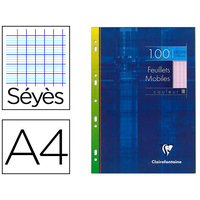 CLAIREFONTAINE 100 FEUILLETS MOBILES ROSE PERFORÉS SEYES 210x297mm