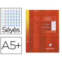 CLAIREFONTAINE A5+ PERFORÉS PACK DE 100 COPIES DOUBLES