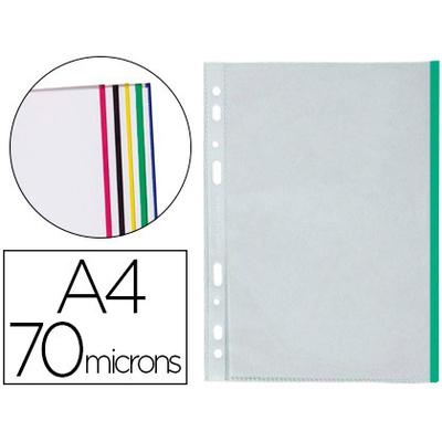 POCHETTES A4 70 MICRONS BORDS COULEURS PACK DE 25