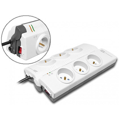 MULTIPRISES PARAFOUDRE 6 PRISES + 2 USB