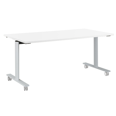 YES BLANC PIEDS BLANC TABLE MOBILE ET RABATTABLE 160CM