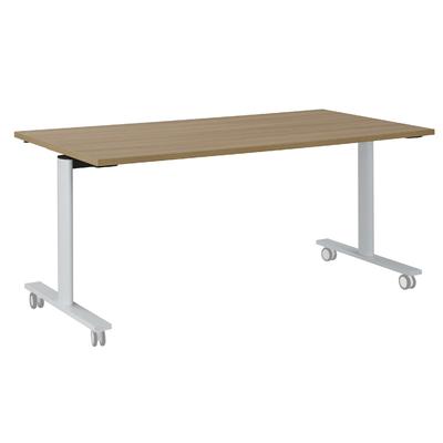 YES MERISIER PIEDS BLANC TABLE MOBILE ET RABATTABLE 140CM