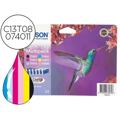 EPSON COLIBRI T0807 NOIR CYAN MAGENTA JAUNE CYAN CLAIR MAGENTA CLAIR