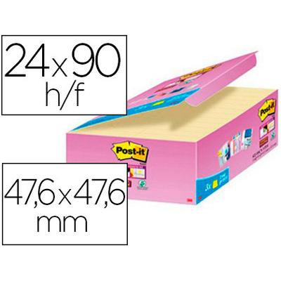 SUPER STICKY JAUNE 47,6X47,6MM PACK DE 24+3 OFFERTS