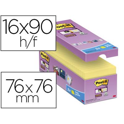 SUPER STICKY JAUNE 76X76MM PACK DE 16+2 OFFERTS