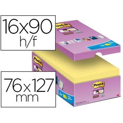 SUPER STICKY JAUNE 76X127MM PACK DE 16+2 OFFERTS