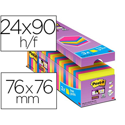 SUPER STICKY ASSORTIS 76X76MM PACK DE 21+3 OFFERTS