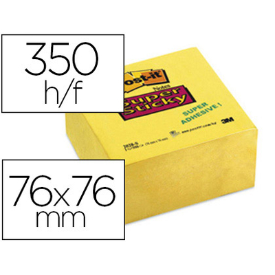 SUPER STICKY BLOC CUBE JAUNE 76X76MM