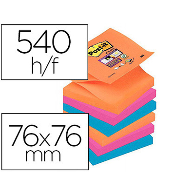 SUPER Z-NOTES ELECTRIC GLOW 76X76MM