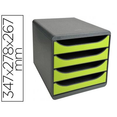 BLOC BIG BOX 4 TIROIRS GRIS SOURIS/VERT ANIS