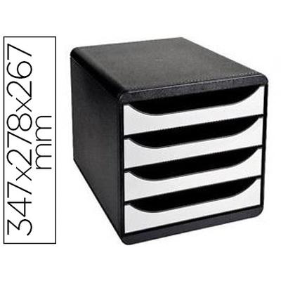 BLOC BIG BOX 4 TIROIRS NOIR/BLANC GLOSSY