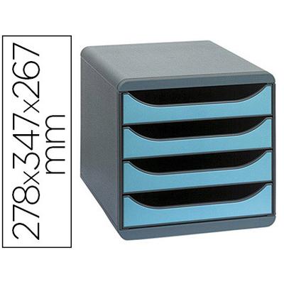 BLOC BIG BOX 4 TIROIRS GRIS SOURIS/TURQUOISE
