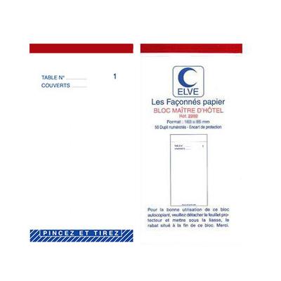 BLOC MAITRE D'HÔTEL DUPLIS 50 FEUILLES 85X105MM