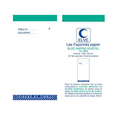 BLOC MAITRE D'HÔTEL TRIPLIS 50 FEUILLES 75X150MM