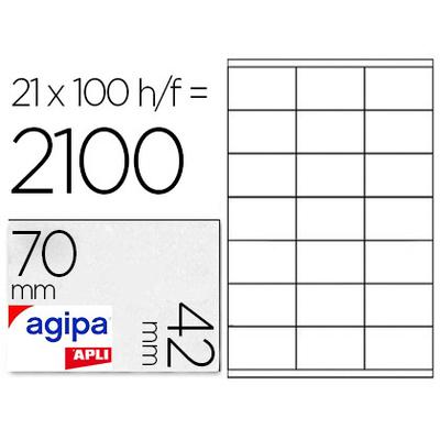AGIPA ÉTIQUETTES COINS DROITS 70X42MM